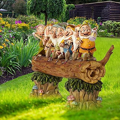 BGYVNU Siete árboles Enanos gnomos decoran el jardín Blancanieves y los Siete enanitos Figura de Resina de Piedra Heigh-ho, Regalo de jardín Familia y Amigos
