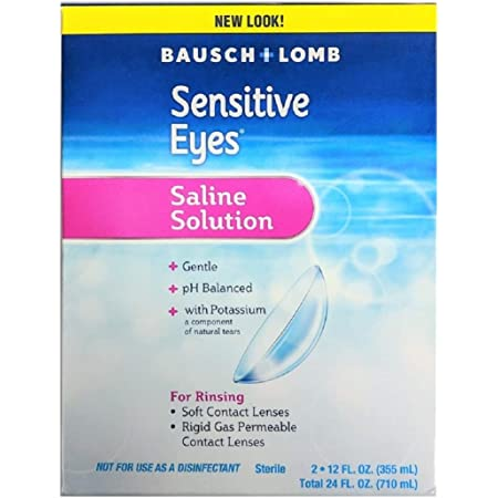Contact Lens Solution by Bausch & Lomb, Sensitive Eyes Solution for Soft Contact & Gas Permeable Lenses, Saline Solution with Potassium, 12 Fl Oz (Pack of 2)