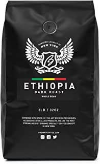 Browny Ethiopia Yirgacheffe Roasted Coffee Whole Beans - Premium Artisan Roast in 32oz (Dark Roast, 2 Pounds)