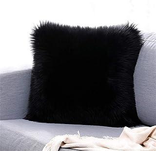 Martin Kench - Funda de cojín de Doble Cara, Piel de Oveja y Pelo Largo, imitación de Piel sintética, Negro, 40 x 40 cm