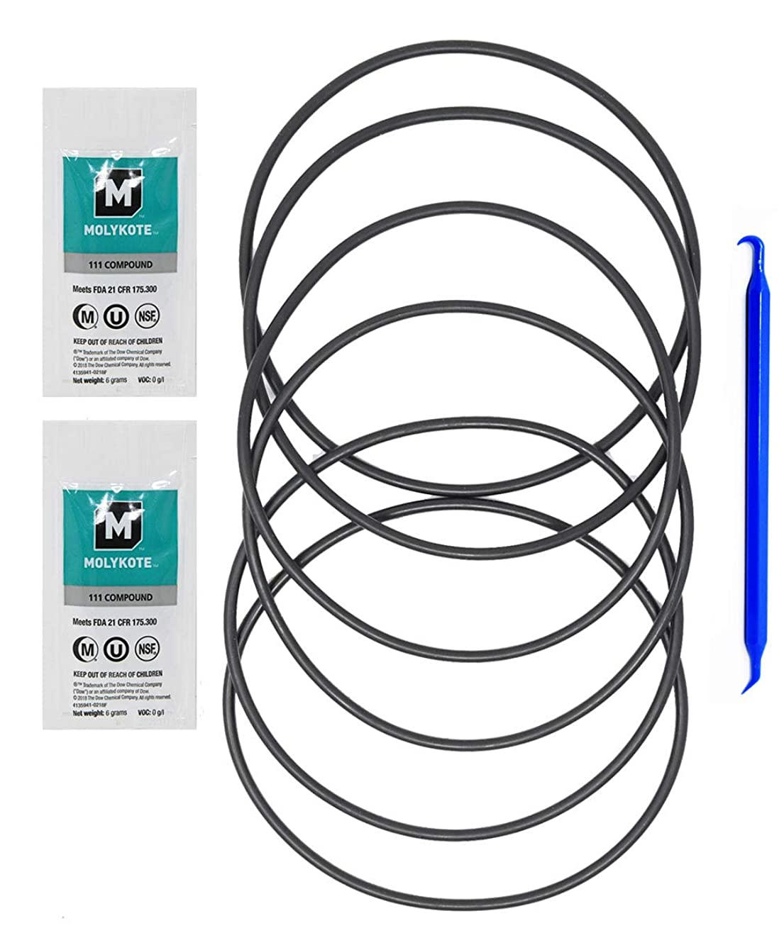 GE HHRING Fits GXWH40L, GNWH38S, GXWH30C, GXWH35F, GNWH38F (6 Pack) with Dow Molykote 111 O-Ring Lubricant and Scratch Free O-Ring Pick Tool