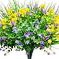 CEWOR 9pcs Artificial Flowers Outdoor UV Resistant Shrubs Plants for Hanging Planter Home Wedding Porch Window Decor?Yellow, Purple, Green?