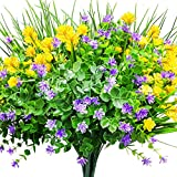 CEWOR 9pcs Artificial Flowers Outdoor UV Resistant Shrubs Plants for Hanging Planter Home ...