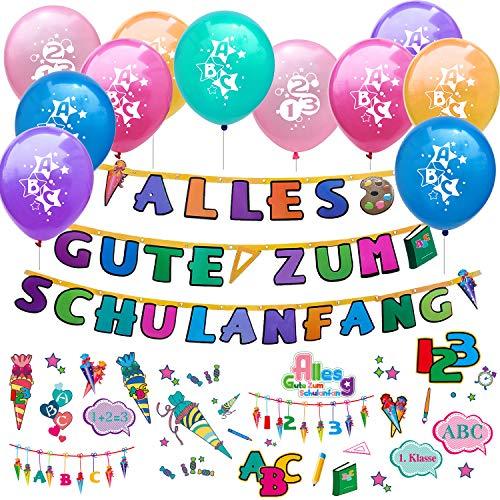 Oblique Unique® Schuleinführung Schulanfang Einschulung Deko Set für Jungs und Mädchen - 10 Luftballons + Alles Gute zum Schulanfang Girlande + Kinder Tattoo Set