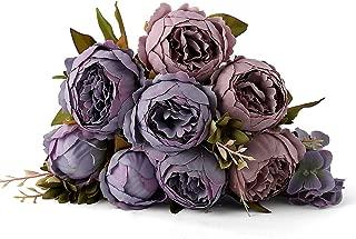 Kimura's Cabin Artificial Silk Peony Flower,Bouquet Floral Plants Decor for Home Garden Wedding Party Decor (Grey Purple)