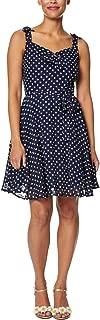 Betsey Johnson Womens Petites Chiffon Polka Dot Mini Dress