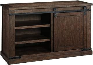 Ashley Furniture Signature Design - Budmore TV Stand - Sliding Barn Door - Rustic - Medium - Brown