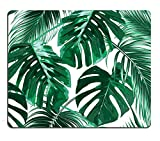 Tropical Leaf Mousepad - Mat - Beautiful Design - Leaves Green with White Background - Rectangle Mouse pad