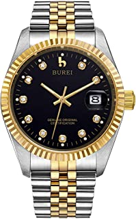 BUREI Mens Luxury Automatic Watch Sapphire Crystal Calendar Display with Two Tones Stainless Steel Band Dress Wrist Watches Self-Winding