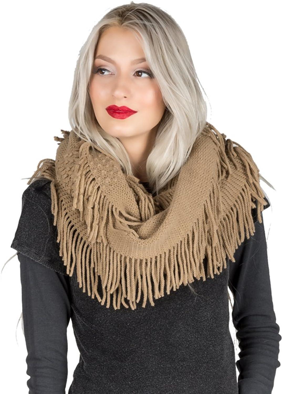 Aerusi Women's Fashion Soft Warm Knit Infinity Scarf Tassel Ends Shawl Wrap