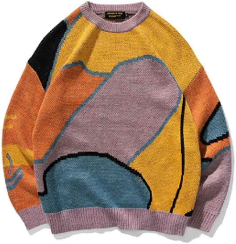 TWDYC Men Cartoon Winter Wool Sweater Pullover Mens Neck Knitted Sweater Women Korean Casual Clothes (Color : C, Size : XL Code)
