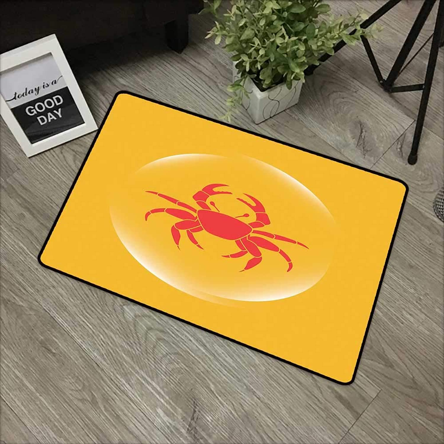 Door mat W35 x L59 INCH Crabs,Crab Icon in an Abstract Bubble on Yellow Background Seafood Theme,Marigold Dark Coral White Non-Slip, with Non-Slip Backing,Non-Slip Door Mat Carpet
