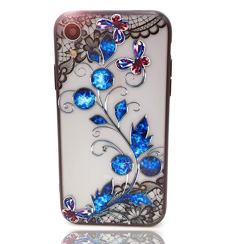 HUIYCUU Case Compatible with iPhone XR Case,Mandala Glitter Henna Black Lace Flower Slim Fit Soft Bumper Shockproof Matte Hard Back Cover Girls Blossom Paisley Design for iPhone Xr 9, Blue Floral
