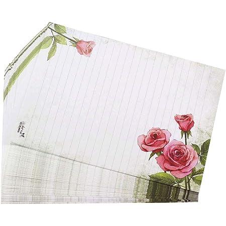 Love /& Wedding 50 Matching envelopes DIN Long windowless Paper-Media Motif-Stationery Sets Rose Motif Flowers /& Petals RED Rose 50 Sheets of Stationery Paper