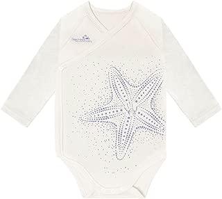 Modal Long Sleeved White Starfish Baby Bodysuit,Beechtree Baby Unisex Baby Boys Girls Original Baby Kimono for Newborn Infant Toddler (0~3 Months)