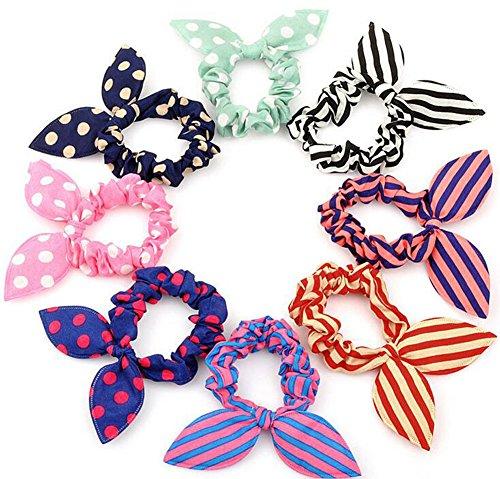 20PCS Cute Girls Damen Kaninchen Ohr Haar Krawatte Bands Seilen Pferdeschwanz Halter Elastic Baumwolle Stretch Haarband Haargummi Stirnband Hair Styling Tools acdessories (zufällige Farbe)