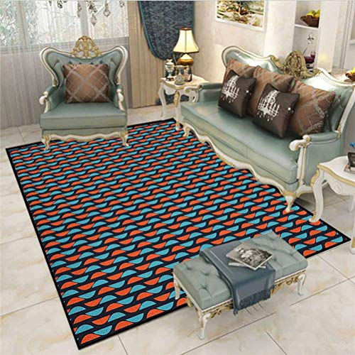 Geometric Bathroom mats and Rugs Indoor Outdoor Rugs Half Circles in Vivid Tone Western Abstract Elements Vintage Design Desk mat for Carpet Vermilion Blue Dark Blue 6 x 8.8 Ft