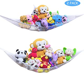 HEA GH 2PACK Toy Hammock Stuffed Animals Organizer with Toys Storage Net-Easy to Install, Large,Durable(White)