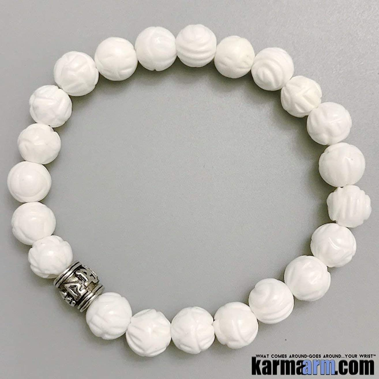 Om Mani Padme Hum Mantra Prayer Wheel: Tridacna ? Yoga Chakra Stretch Beaded Bracelet