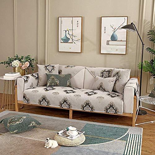 JXJ Funda de sofá antideslizante de chenilla vintage para sofá de sofá, sofá reclinable y silla, beige, 110 x 160