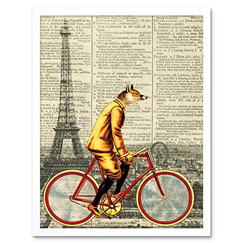 Fox Bicycle Parijs Frankrijk Upcycle Style Dictionary Art Print Framed Poster Mall Decor 12x16 inch fiets Parijs Frankrijk stijl poster muur