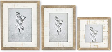 K&K Interiors 16006A Set Of 3 Natural And Whitewashed Wood Photo Frames, Brown