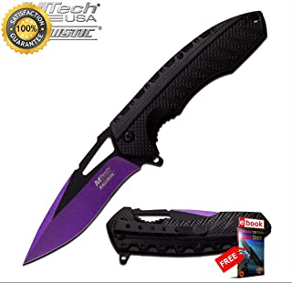 SPRING ASSISTED FOLDING POCKET Sharp KNIFE Mtech Purple Black Tactical Blade MT-A930PE Combat Tactical Knife + eBOOK by Moon Knives