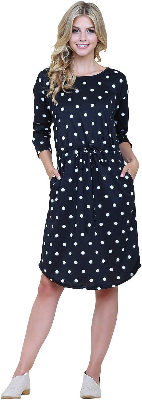 RIAH FASHION French Terry Drawstring Tie Waist Polka Dot Slouchy Midi Dress - Casual Belted Shift Dress|XSmall-3X Plus Size