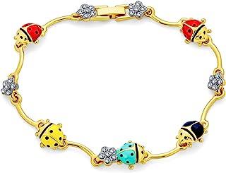 Colorful Good Luck Garden Lucky Ladybug Link Charm Bracelet for Women Crystal 14K Gold Plated Brass