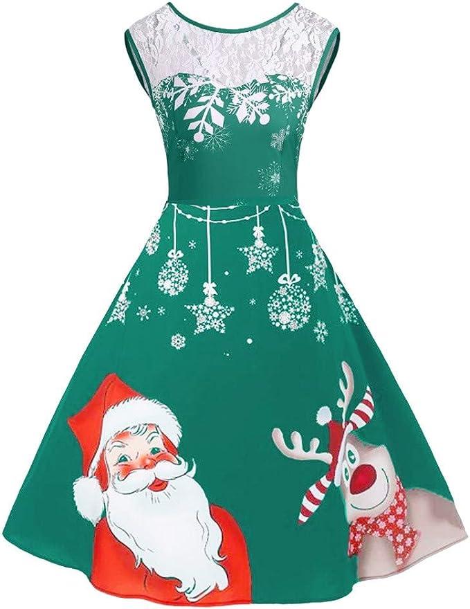 Dream Room Weihnachten Kleider Damen Vintage Cocktailkleider Retro Pinup Rockabilly 50s Retro Vintage Abendkleider Kleid Partykleider Cocktail Kleider Weihnachten Damen Festlich Elegant Kleide Amazon De Bekleidung
