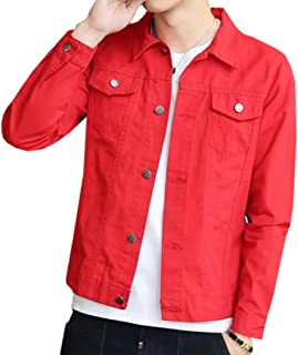 UUYUK-Men Casual Stretch Slim Fit Denim Trucker Jacket