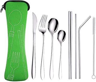 Silverware Flatware Cutlery Set,Portable Utensils 8 Pieces Stainless Steel Utensils Service for 4,Include Knife,Fork,Spoo...