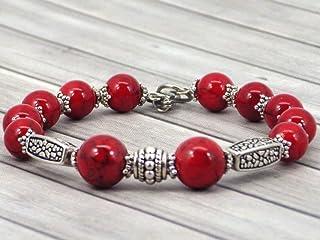 Bracciale da donna in perle tibetane ricostituite rosse con turchese e argento