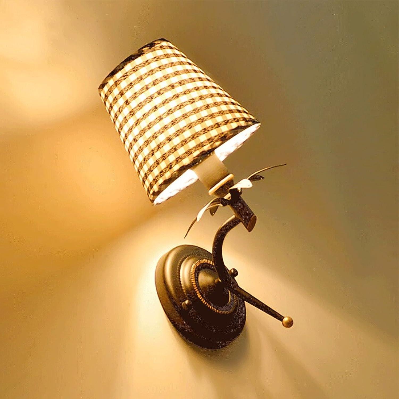 Amerikanischen Stil Landschaft LED Nachttischlampe Schmiedeeisen Treppe Wohnzimmer Wandleuchte Tuch Studie Schlafzimmer Wandleuchte Durchmesser  14 cm
