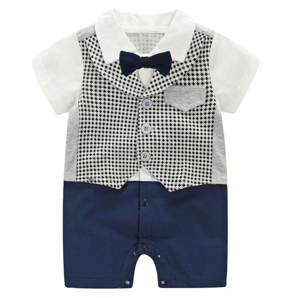Mornyray Baby Boy Formal Jumpsuit Gentleman Wedding Outfit Tuxedo Suit with Bowtie