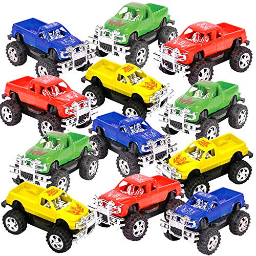 ArtCreativity 3 Inch Pull Back Mini Pickup Trucks for Kids, Set of 12, Pullback Racers in Assorted Colors, Birthday Party Favors for Boys & Girls, Goodie Bag Fillers, Small Carnival & Contest Prize