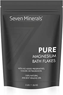 Pure Magnesium Chloride Flakes 3 lb - Absorbs Better Than Epsom Salt - All Natural Unscented Foot Soak (15 uses) or Full B...