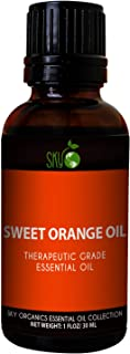 Sky Organics Orange Essential Oil (1oz) 100% Pure Therapeutic Grade Natural Sweet Orange Oil for Diffuser, Aromatherapy, Massage Oil, Stress and Detox – Citrus Scented Oil for Candles and DIY