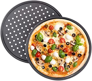 Tiamu Plaque Pizza, Plateaux de Four à Pizza Ronds Antiadhésive en acier au Carbone 28cm <2 Pièces>