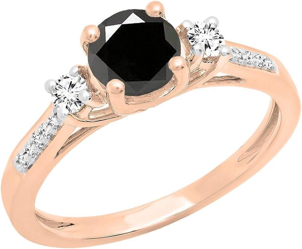 Dazzlingrock Collection 10K 6 MM Round Black Diamond,White Sapphire & Diamond Bridal Engagement Ring, Rose Gold, Size 7.5