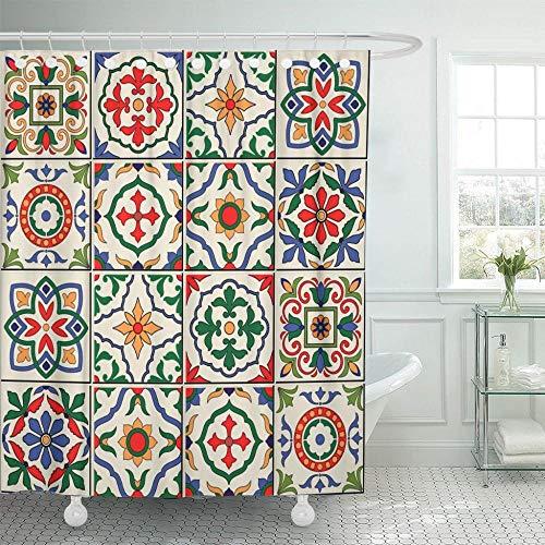 None brand Cortina De Ducha Azul EspañOl Precioso Blanco Colorido Marroquí PortuguéS Azulejos Adornos De Azulejo PatróN Rellenos Mosaico Impermeable-W150xH180cm
