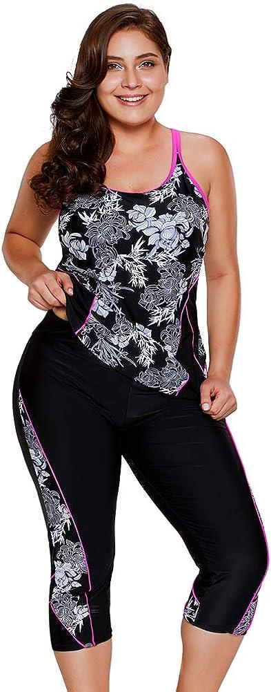 MMMJY Women Floral Print Racerback Rash Guard Tankini Swimsuit Hight Waist Boardshort Swim Bottom Plus Size 2PC Swimwear