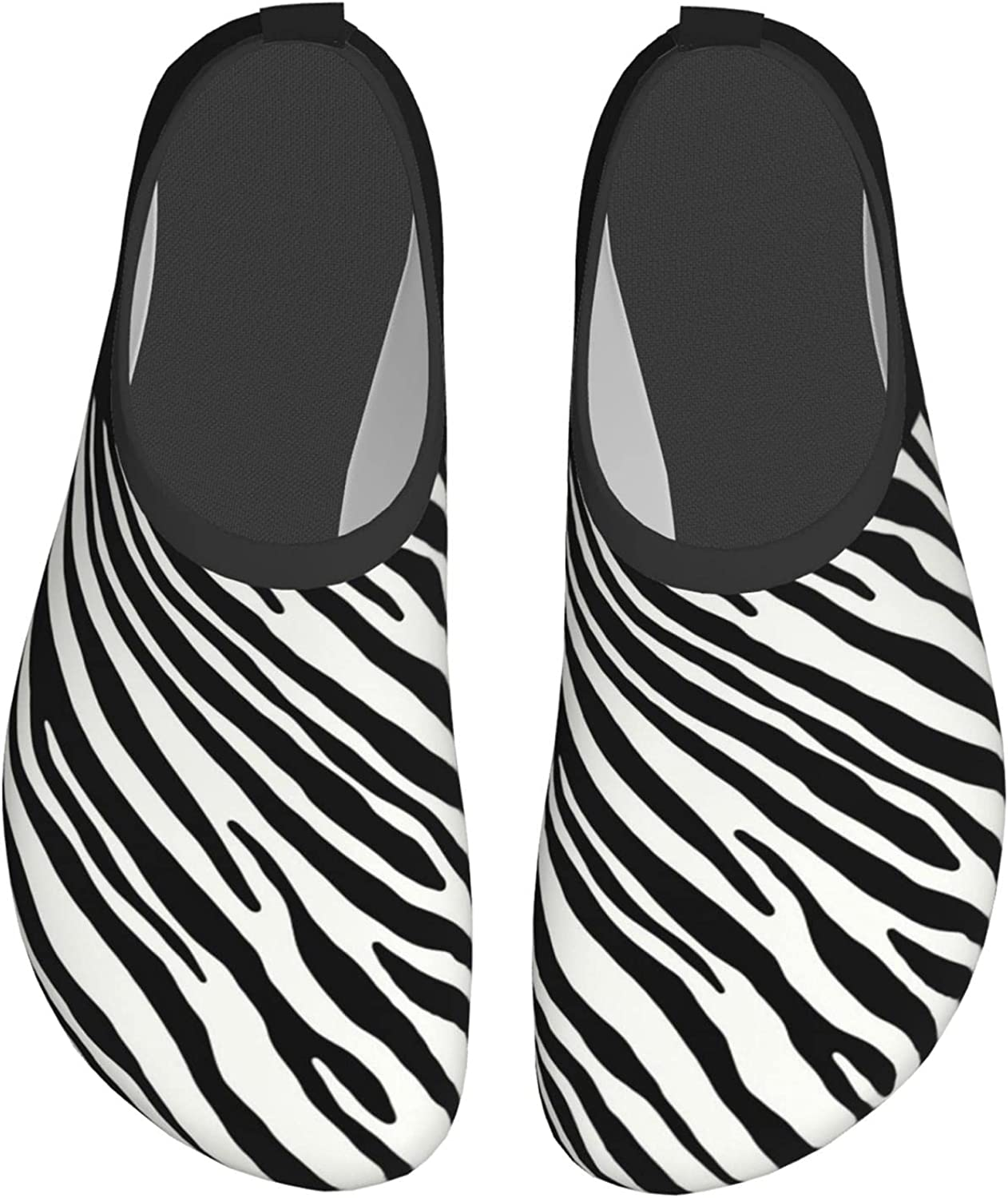 DISGOWONG Illustration of Zebra Pattern Water Shoes Beach Pool Shoes Quick-Dry Aqua Yoga Socks Beach Swim Sports Outdoor for Women and Men 12 inch