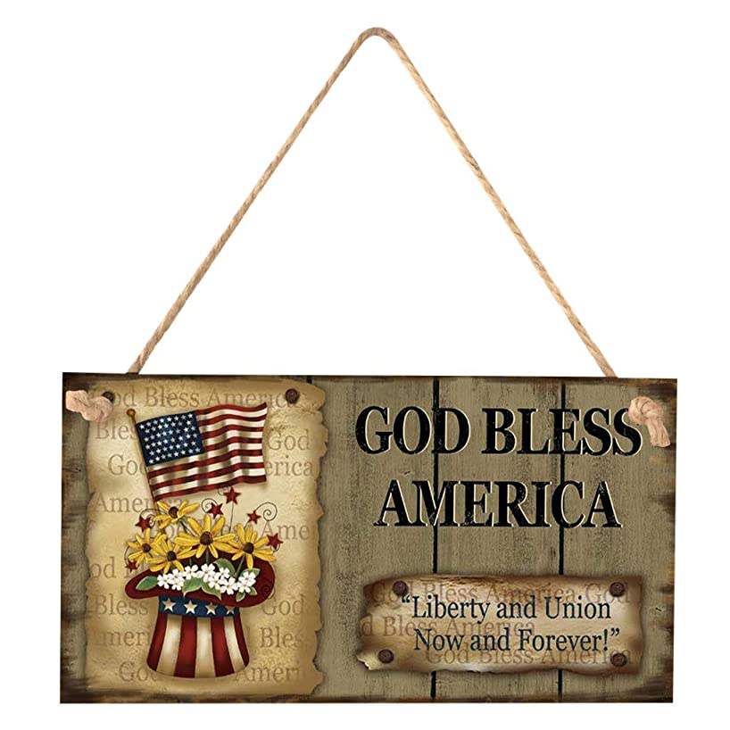 Mysky American 4th of July Independence Day Wooden Plaque Sign God Bless America
