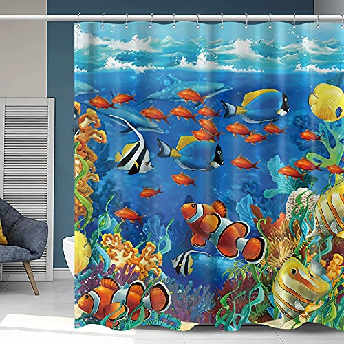 Homewelle Fish Under The Sea Shower Curtain Colorful Ocean World Coral Blue Waterproof 72Wx72L Clownfish Animal 12 Pack Plastic Shower Hooks Polyester Fabric Bathroom Bathtub