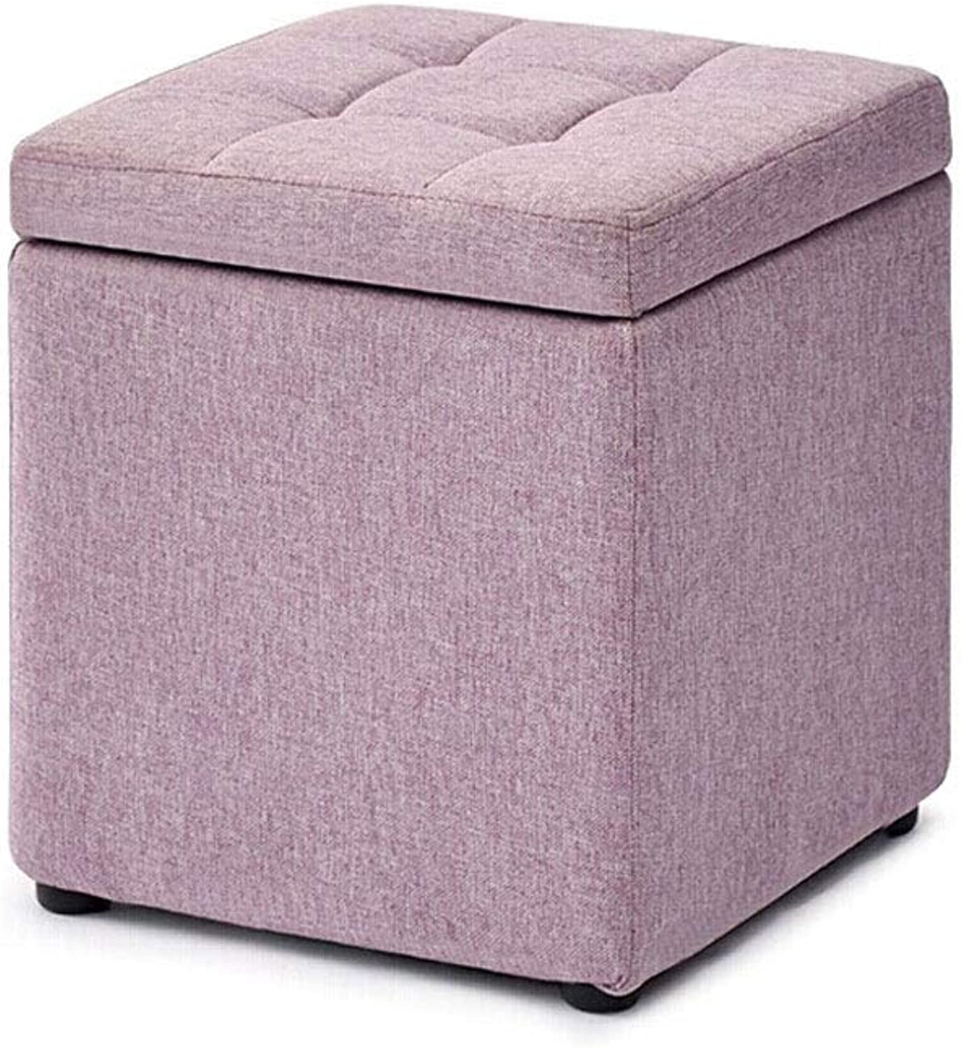 GJD Home Fabric Footstool, Creative Fashion Storage Stool Home Fabric Storage Stool 30×30×35cm, Multi-color Selection (color   Light Purple)