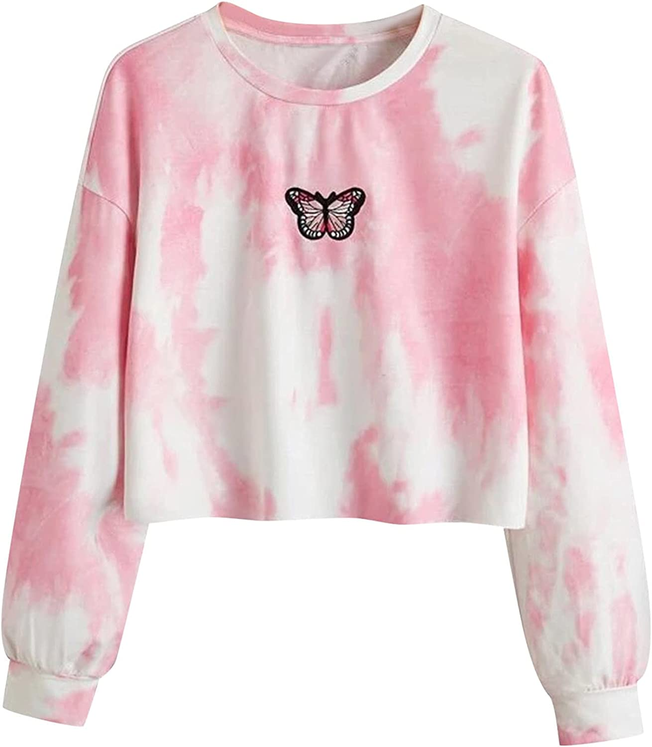 Hoodies for Women's Cropped Tops Funny Tie-dye Printed Casual Long Sleeve Hooded Sweatshirt Pullover Shirt Blouse