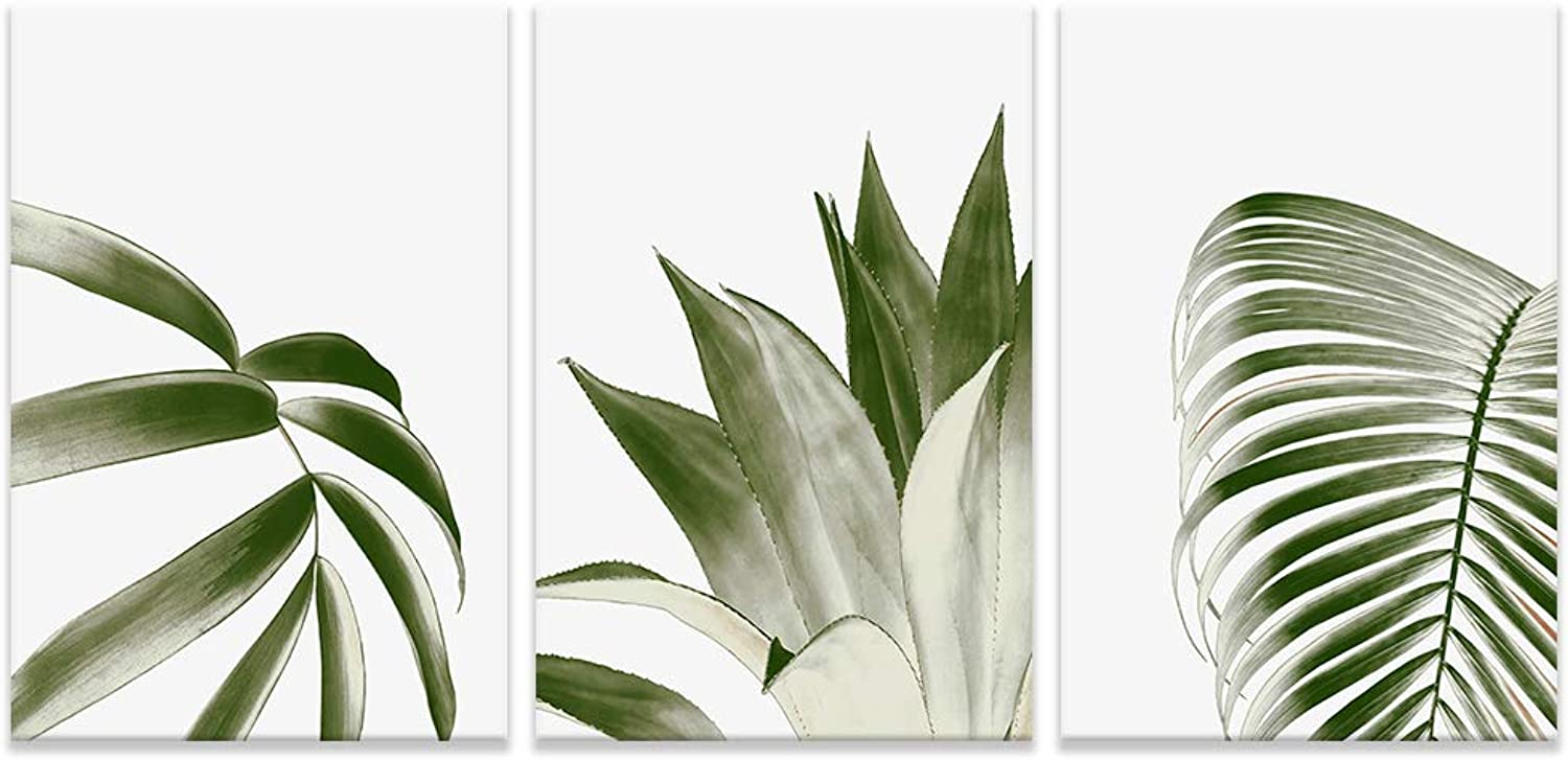 NWT 3 Piece Canvas Wall Art Wide Green Leaves Painting Artwork for Home Prints Framed - 24 x36  x 3 Panels