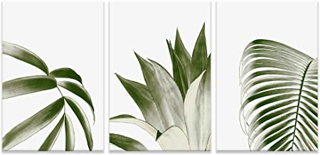 NWT 3 Piece Canvas Wall Art Wide Green Leaves Painting Artwork for Home Prints Framed - 16