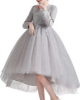 ZYUPHY Princesa Vestido de Niña Flores Elegantes Vestido de Fiesta Boda Largo Vestidos de Dama De Honor Comunión Cumpleaño...